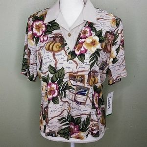 Travel Print Layer Look Top by Teddi  PM NWT